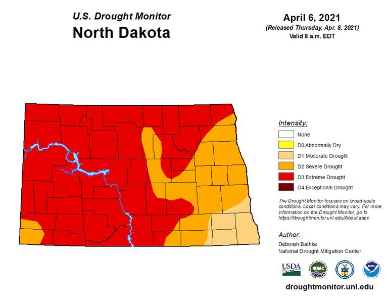 U.S. Drought Monitor in North Dakota as of April 8, 2021