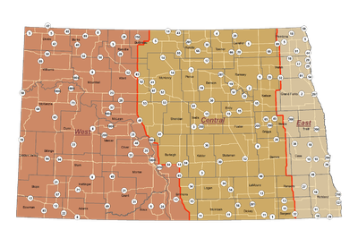 Figure 1 Map of ND Zones