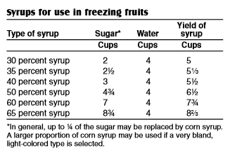Freezing fruit syrups