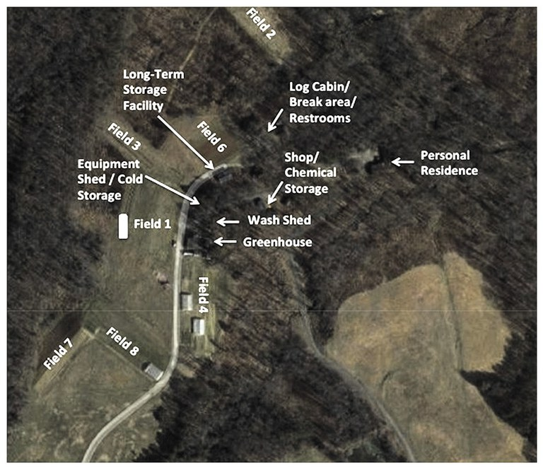 aerial photo of farm map