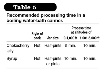Processing time boiling water bath