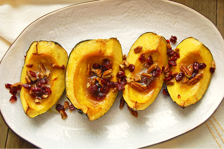 roasted acorn squash with nuts and cranberries