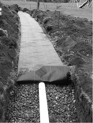 Gravel filled trench with geotextile fabric