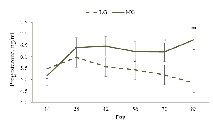 Figure 1. Effect of two different rates of gain during the first 83 days of pregnancy on circulating concentrations of progesterone (P4) in beef heifers