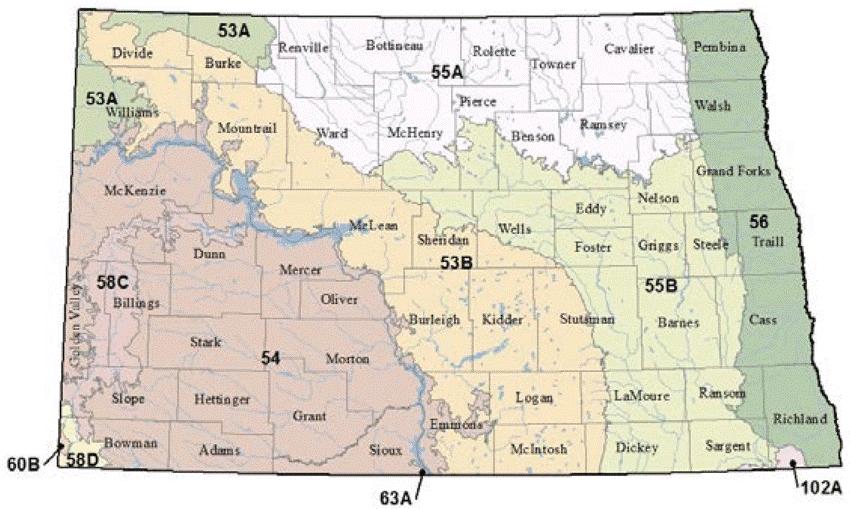 map of North Dakota major land resource areas
