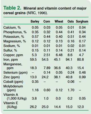 Mineral and vitamin content of major cereal grains