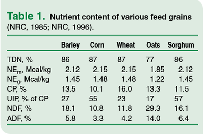 Nutrient content of various feed grains