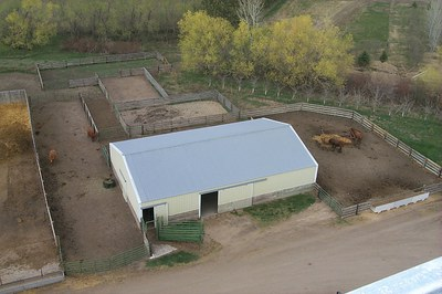 Overhead view of the north barn with outside holding pens, alleys and loading chute