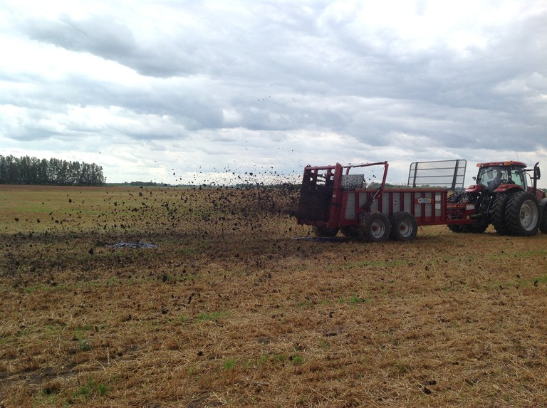 a tractor applying manure over plastic sheets