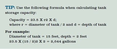 Calculating tank storage