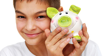 boy with green piggy bank
