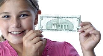 girl with 5-dollar bill