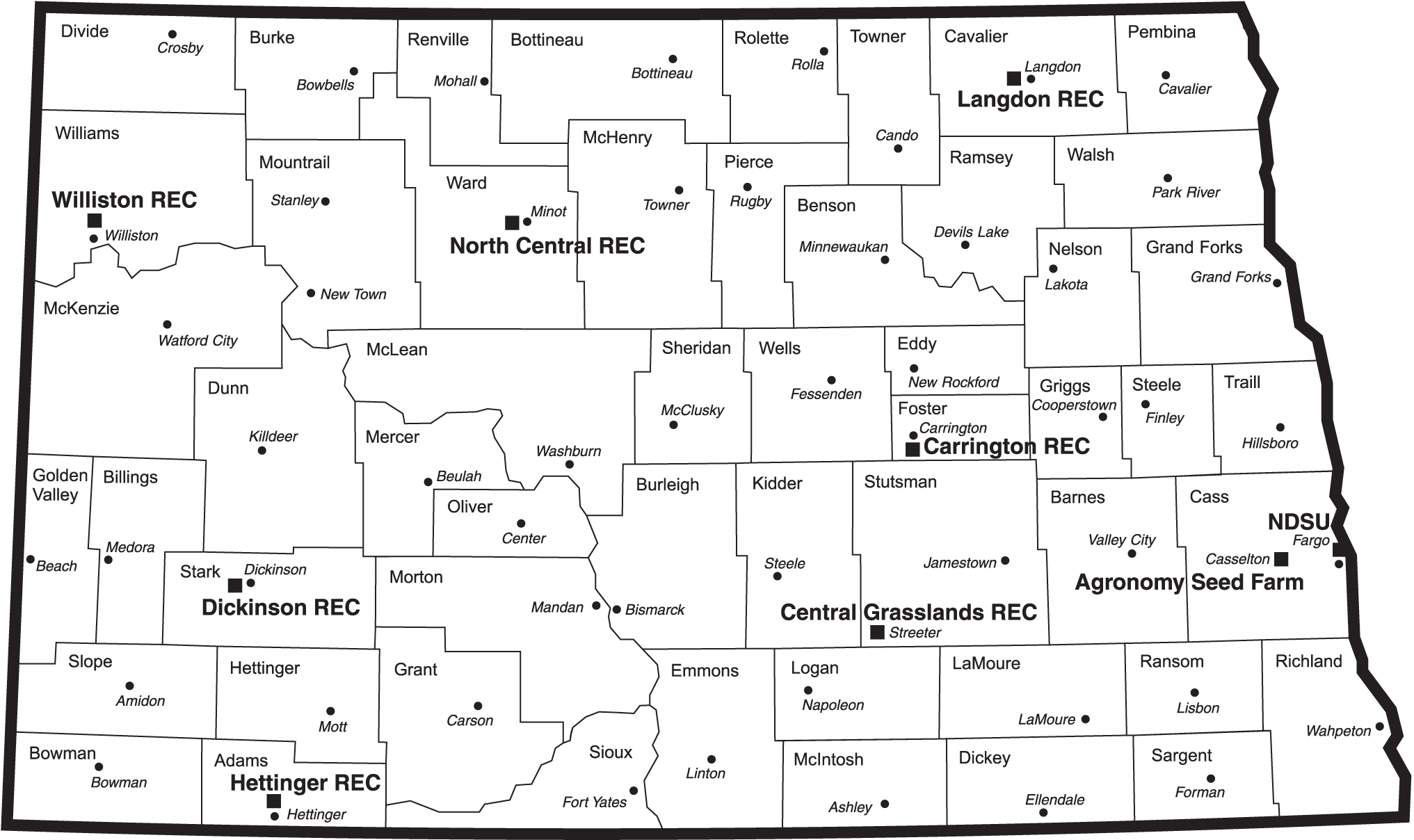 North Dakota Map With RECs ND Agricultural Experiment Station - North dakota map
