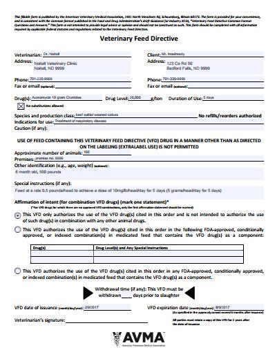 VFD form screenshot