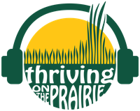 "A graphic of green headphones on a circle. The top of the circle shows prairie grass against the sun. The bottom of the circle shows the text ""Thriving on the Prairie"" against a green background."