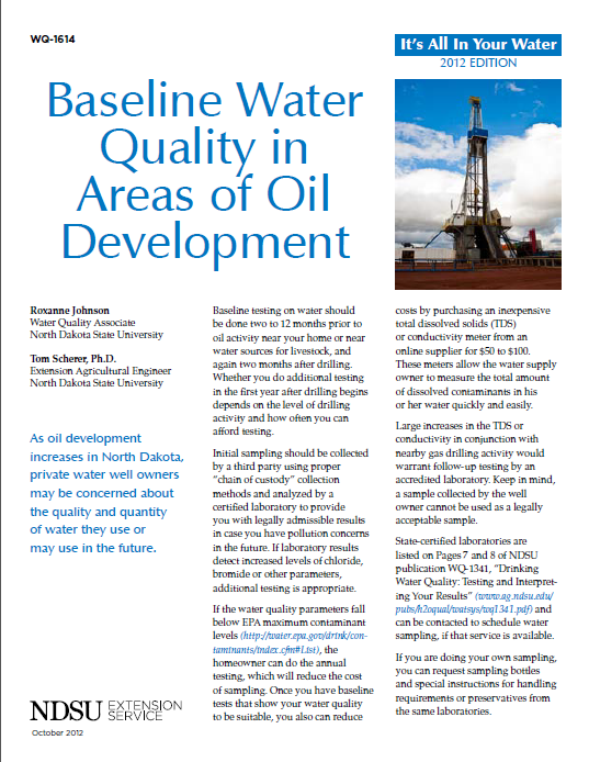 Baseline Water Quality in Areas of Oil Development