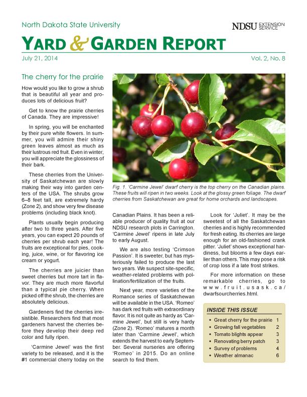 NDSU Yard & Garden Report for July 21, 2014