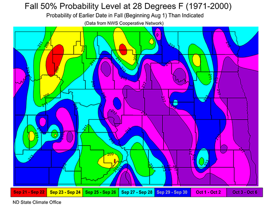 Map of hard frost probability (50%) in fall