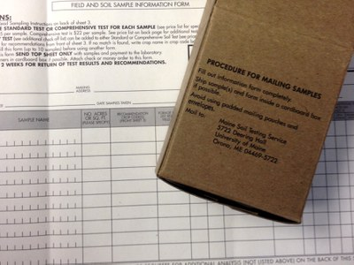 Soil testing bag and form