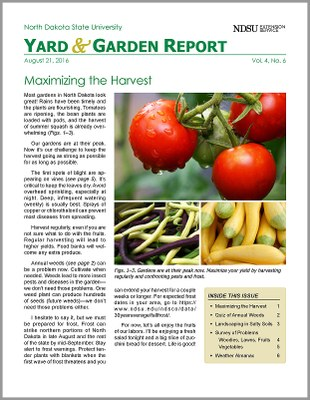 NDSU Yard & Garden Report for August 21, 2016