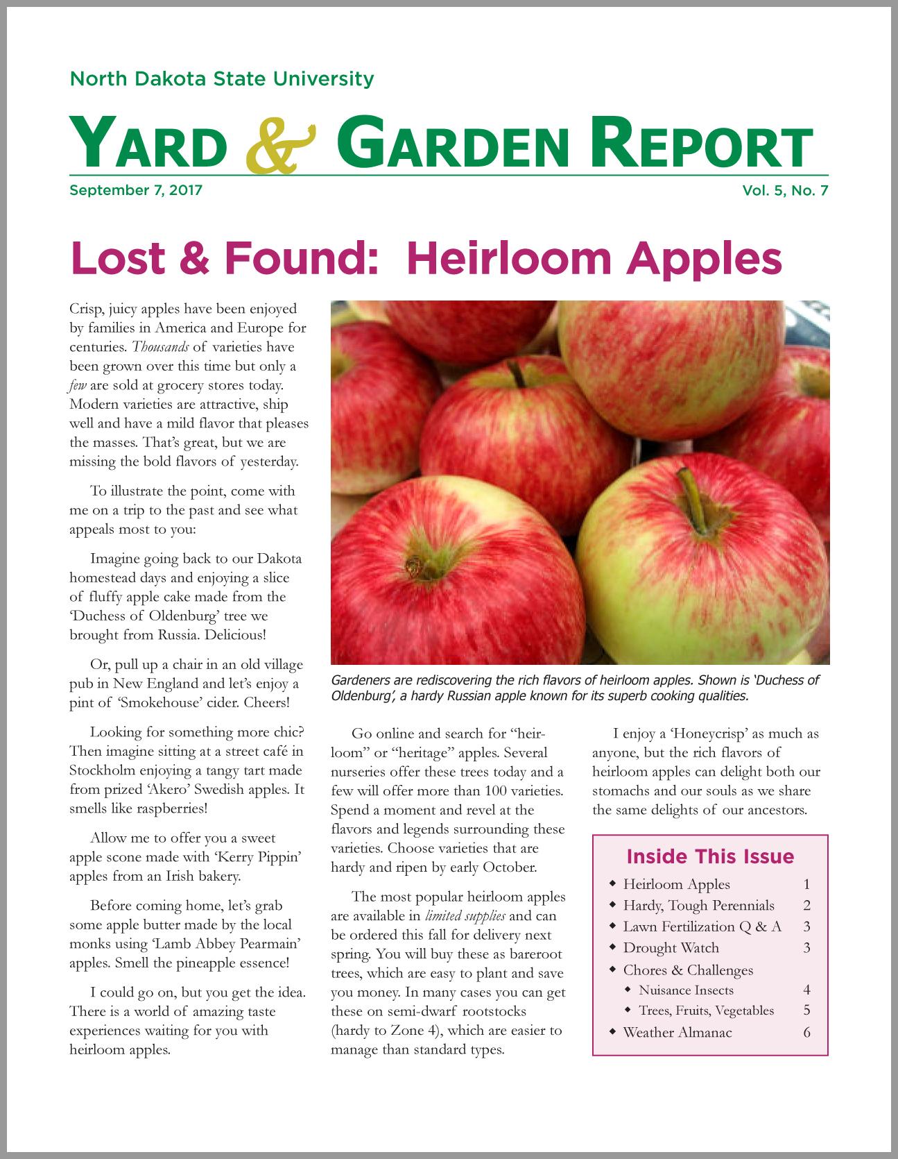 NDSU Yard & Garden Report for September 7, 2017