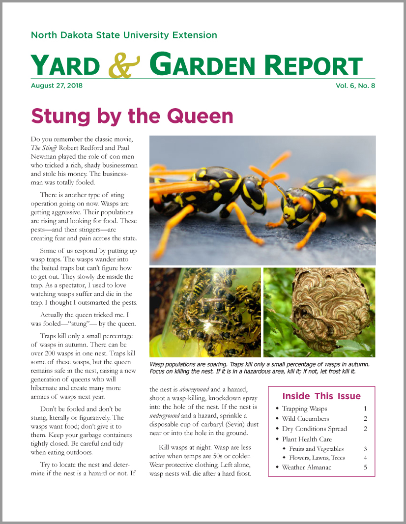 NDSU Yard & Garden Report for August 27, 2018