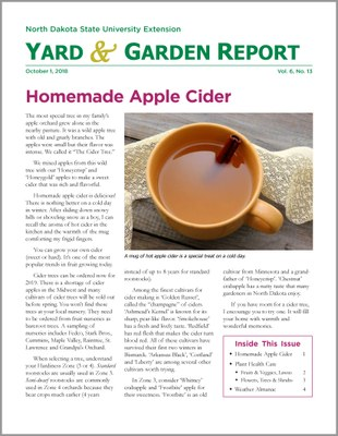 NDSU Yard & Garden Report for October 1, 2018