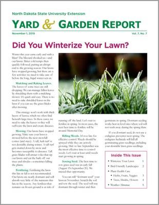 NDSU Yard & Garden Report for November 1, 2019