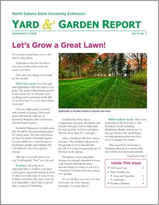 NDSU Yard & Garden Report for September 7, 2020