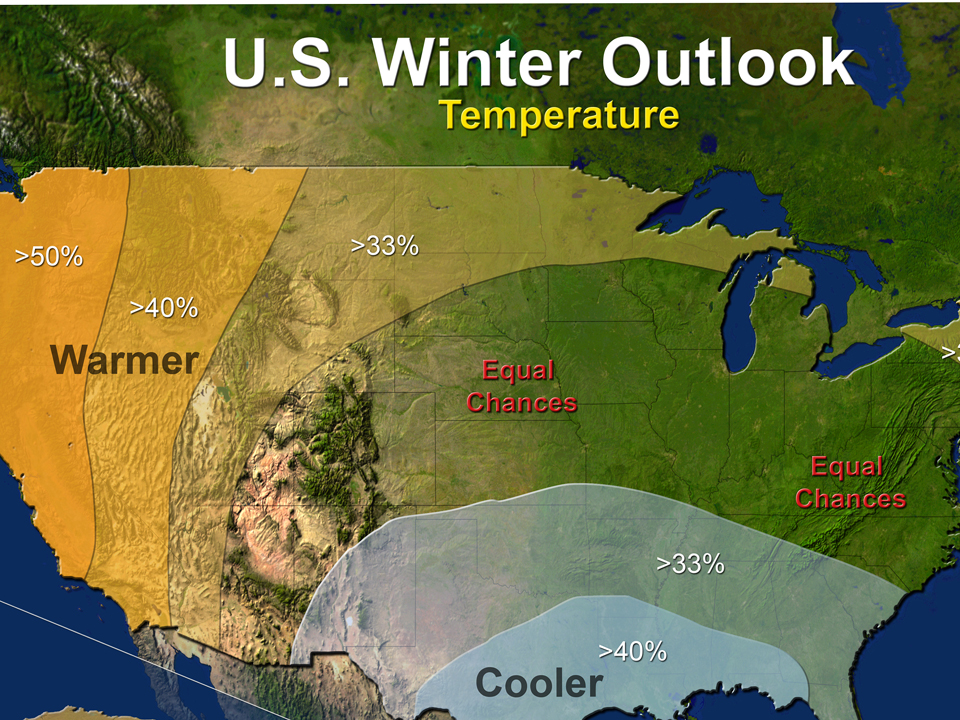 Winter weather outlook map for 2014-15